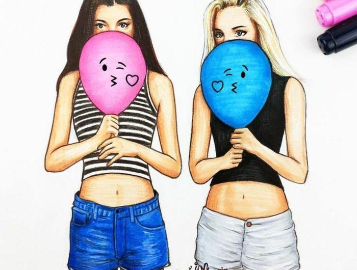 dessin de 2 filles