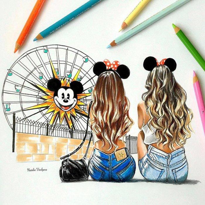 Dessin De 2 Meilleures Amies Les Dessins Et Coloriage