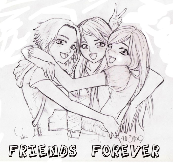 dessin de 3 meilleures amies