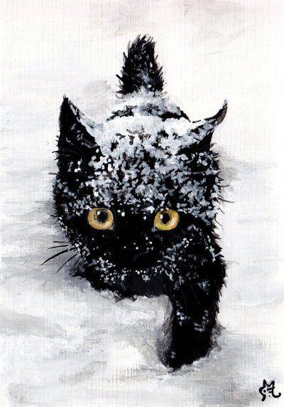 dessin de chat dans la neige