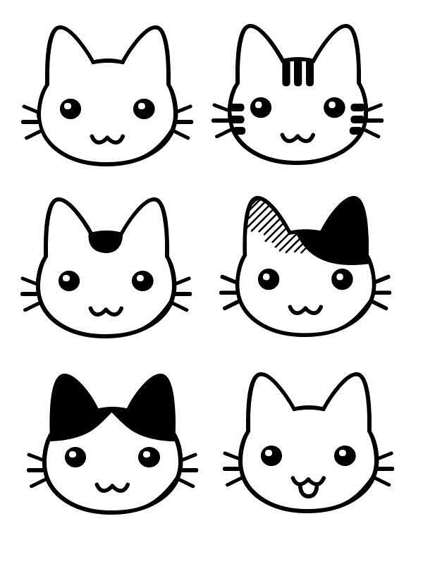 dessin de chat de face