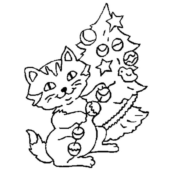 dessin de chat de noel a imprimer