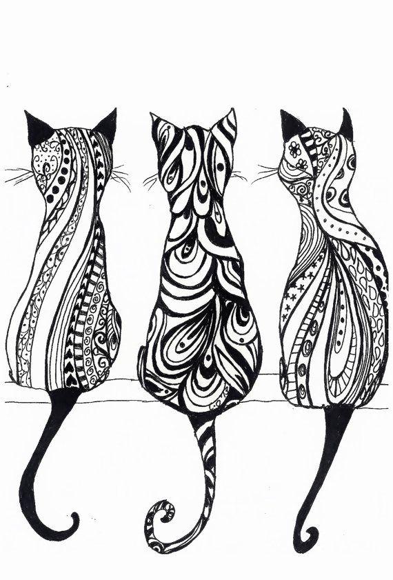 dessin de chat en mandala
