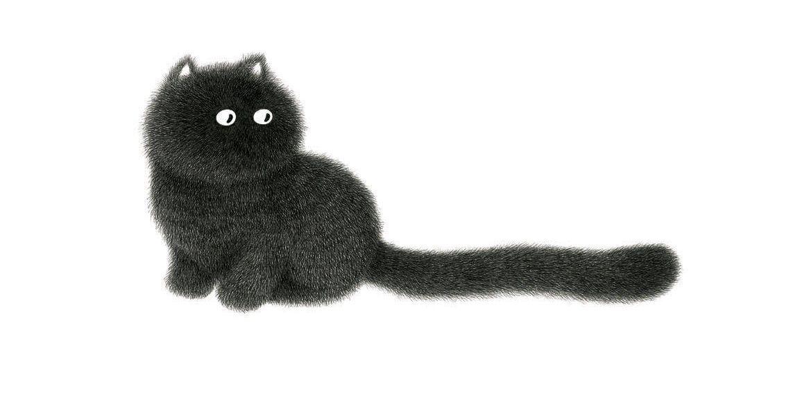 dessin de chat en noir et blanc