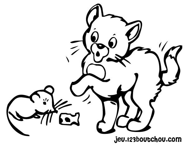 dessin de chat et souris en couleur