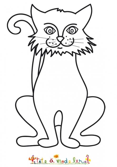 dessin de chat facile assis