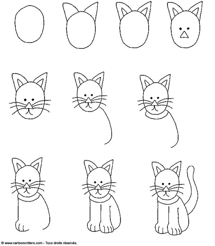 dessin de chat facile etape par etape