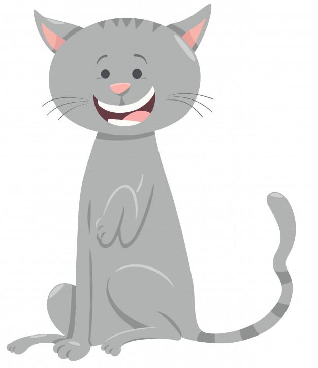 dessin de chat gris
