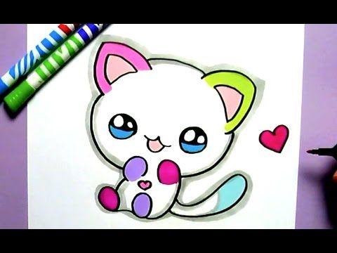 dessin de chat kawaii facile