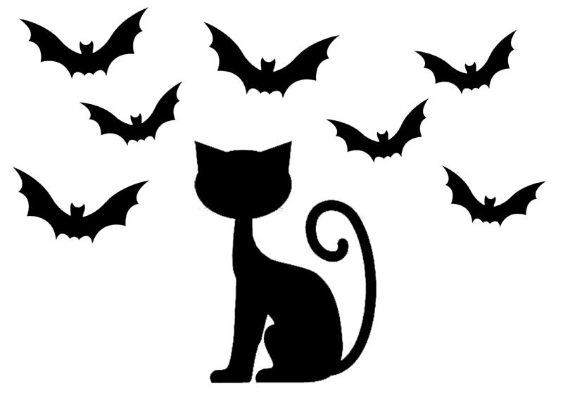 dessin de chat noir halloween , Les dessins et coloriage