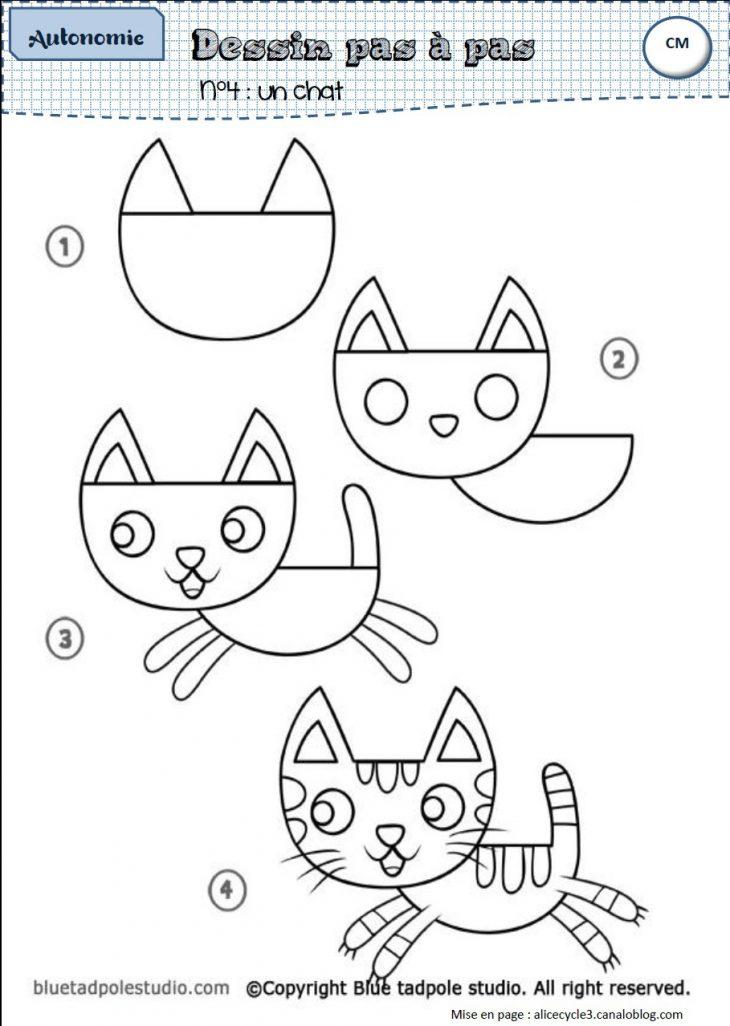 dessin de chat par etape