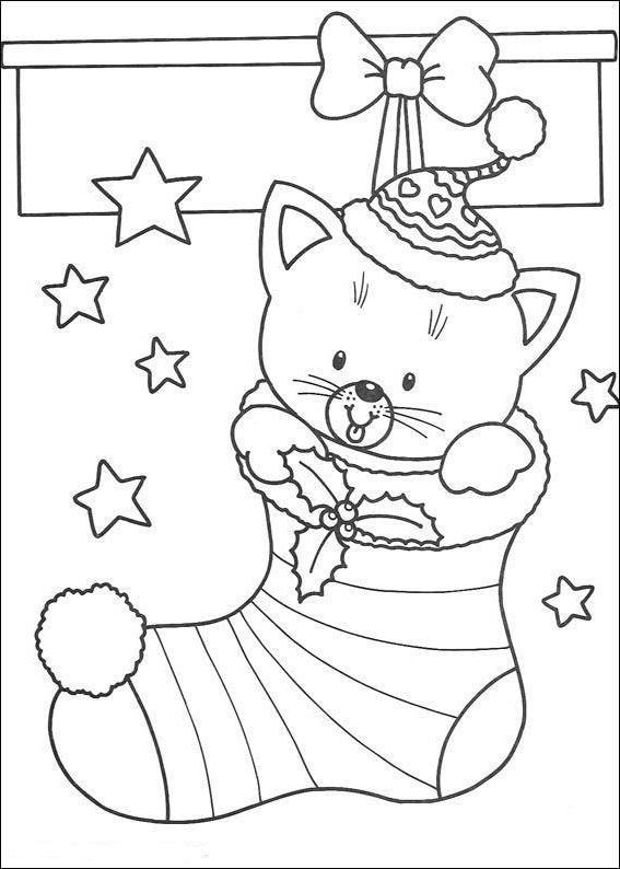 Coloriage Chat Cadeau.Dessin De Chat Pour Noel Les Dessins Et Coloriage