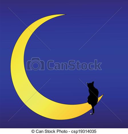 dessin de chat sur une lune