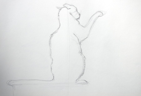 dessin de chat vu de dos