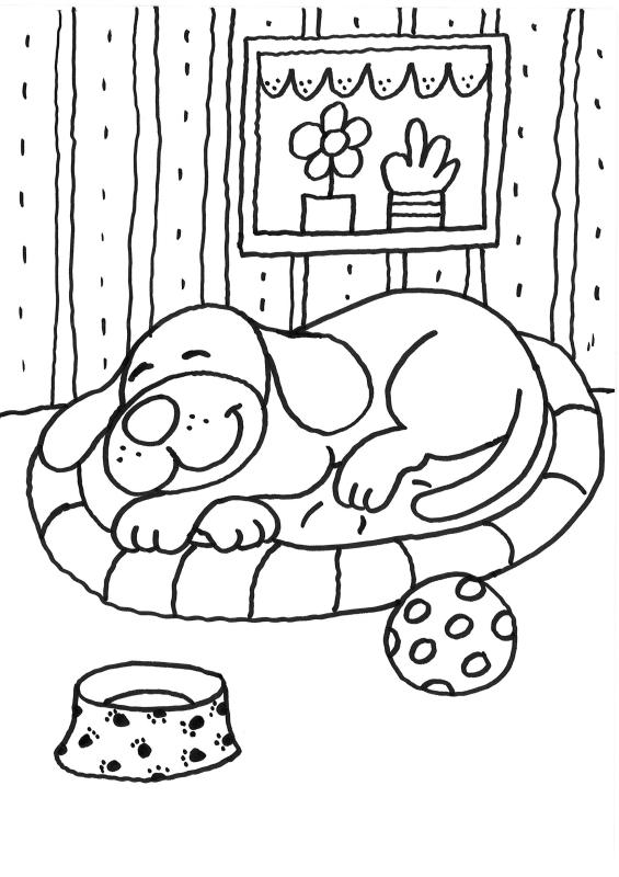 dessin de chien dans un panier