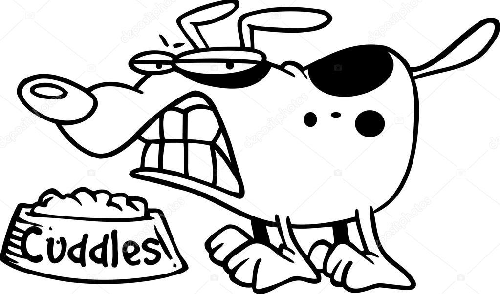 dessin de chien qui grogne