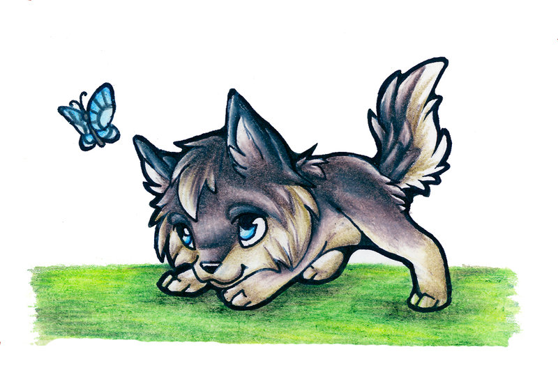 dessin de loup kawaii