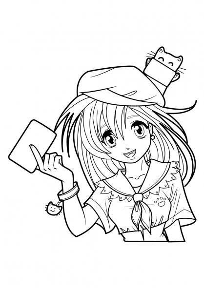 Coloriage Fille Et Chat.Dessin Manga De Chat Les Dessins Et Coloriage