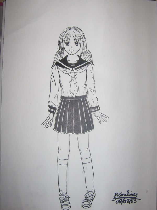 dessin manga ecoliere