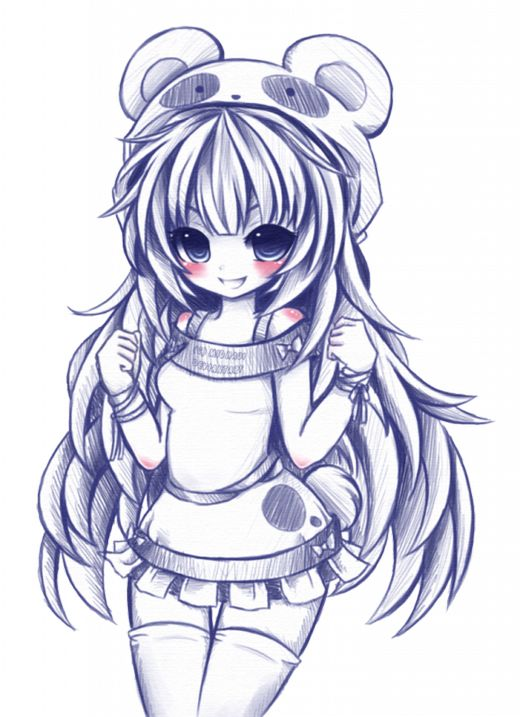 dessin manga fille joyeuse
