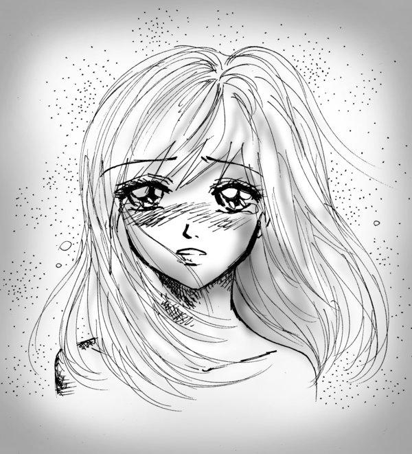 Dessin Kawaii Fille Triste