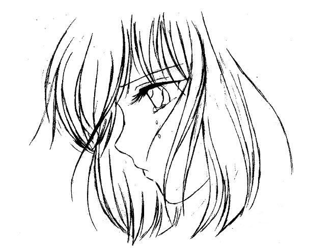 dessin manga triste facile