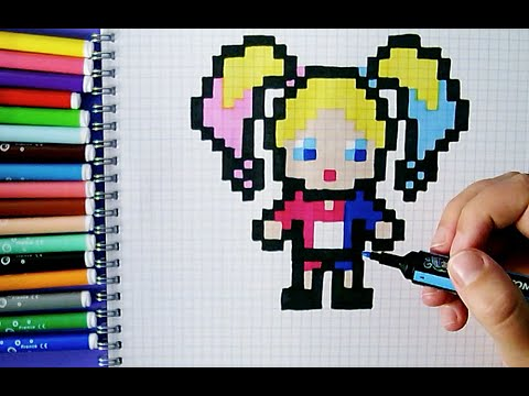 Pixel Art Harley Quinn Facile