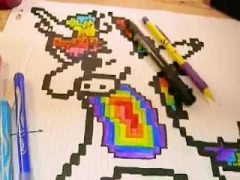 dessin pixel art licorne facile