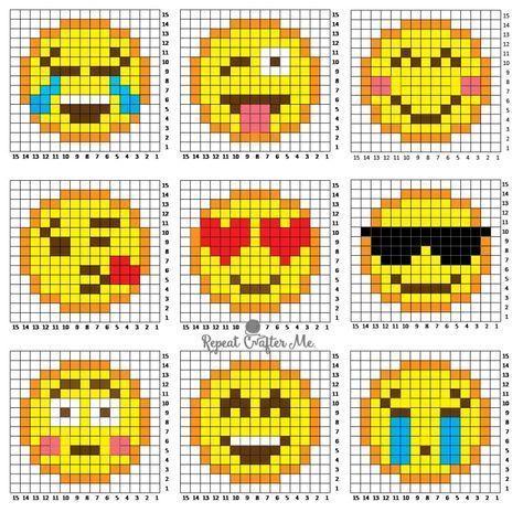 dessin pixel art smiley