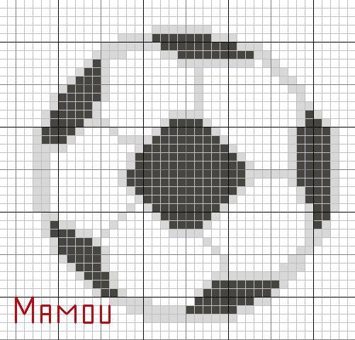 dessin pixel ballon de foot