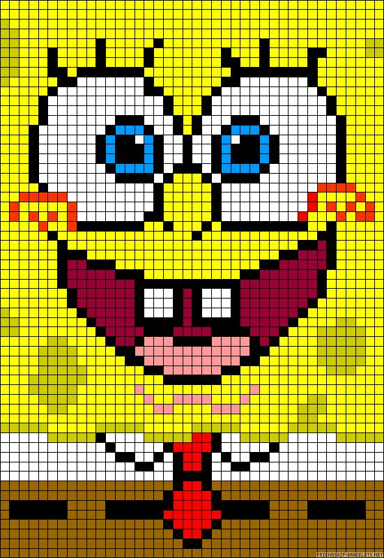 dessin pixel bob l'eponge