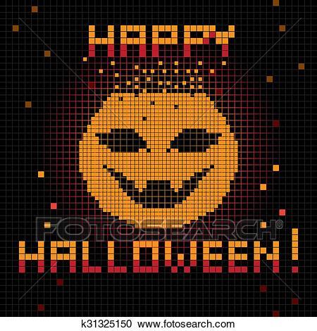 dessin pixel citrouille