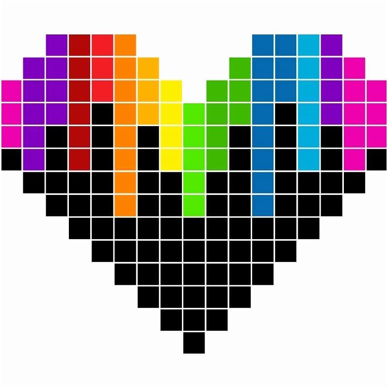 Pixel Art Coeur Drapeau