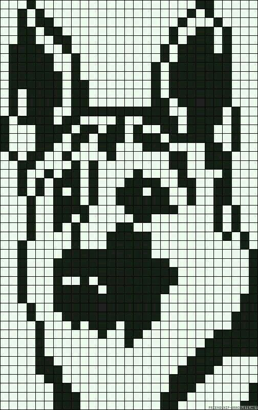dessin pixel de chien