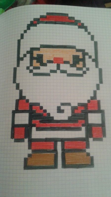 dessin pixel de noel facile