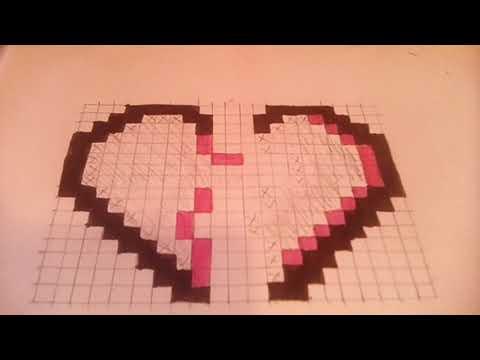 dessin pixel facile coeur