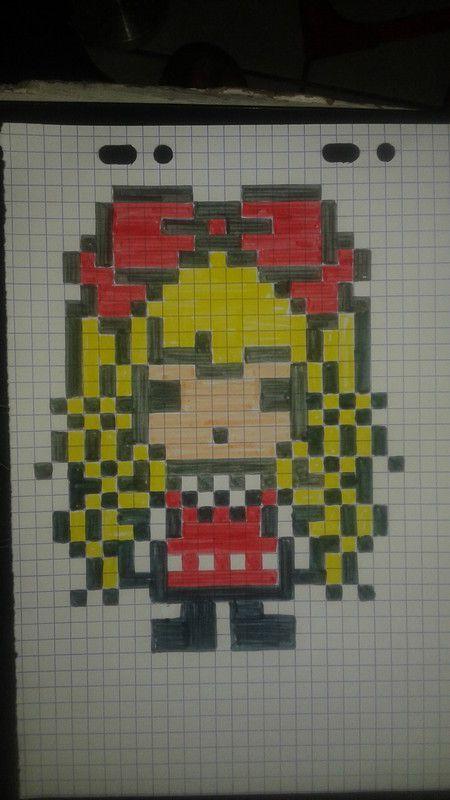 dessin pixel fille