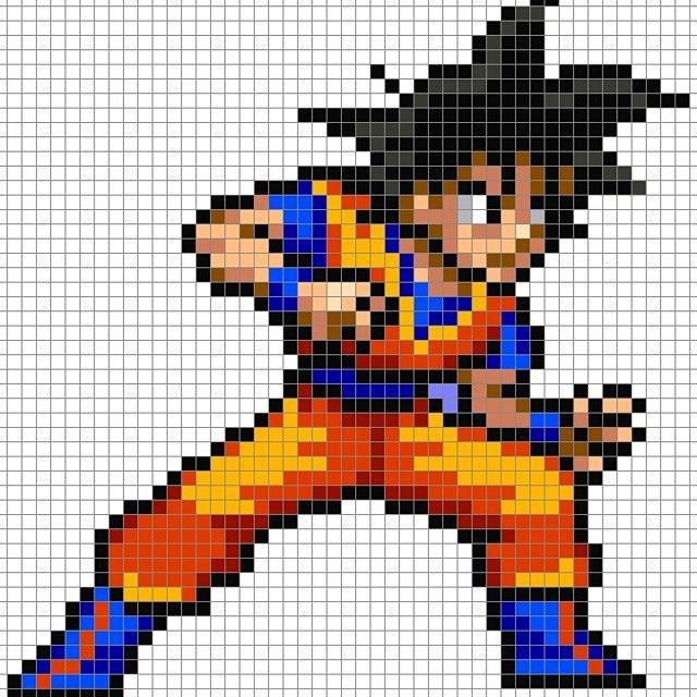 dessin pixel goku