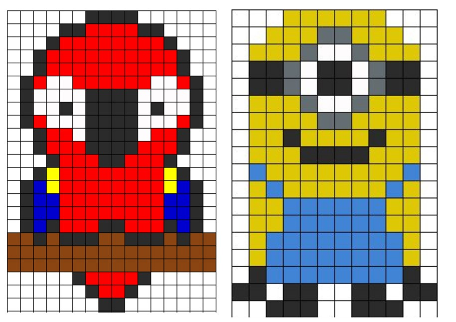 Dessin Pixel Grand Carreaux Les Dessins Et Coloriage