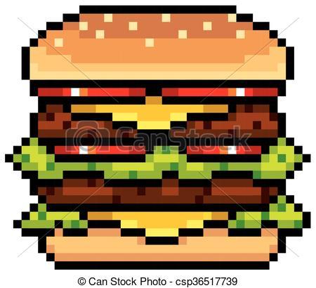 dessin pixel hamburger - Les dessins et coloriage