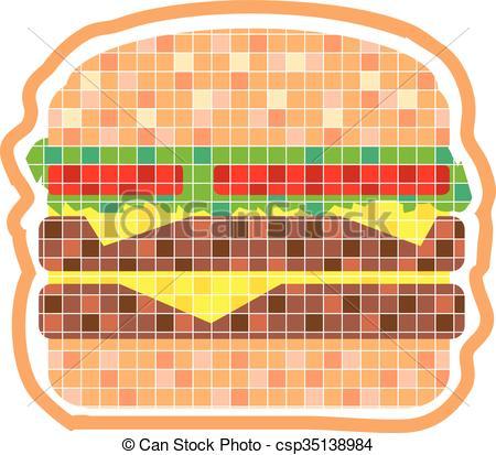 Dessin Pixel Hamburger Les Dessins Et Coloriage