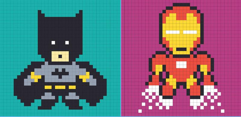 dessin pixel hero