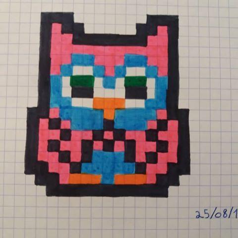 dessin pixel hibou