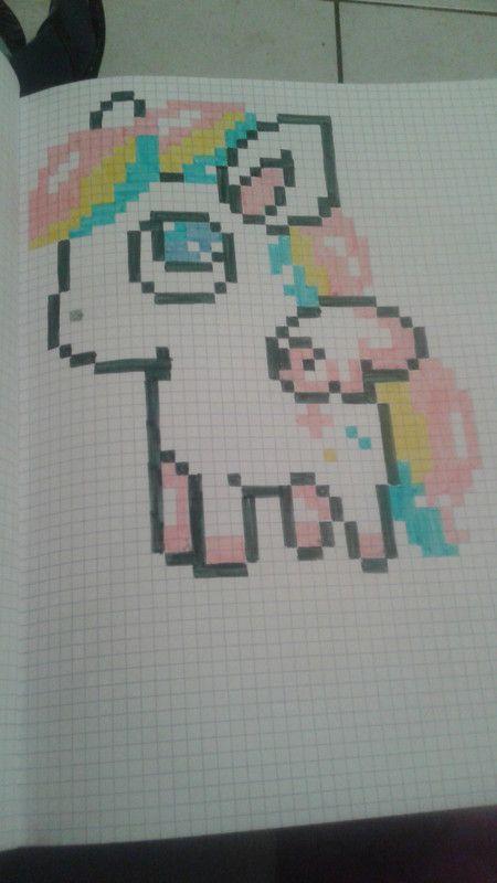 dessin pixel kawaii licorne