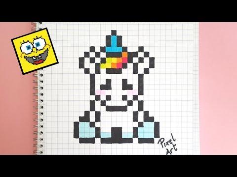 dessin pixel licorne