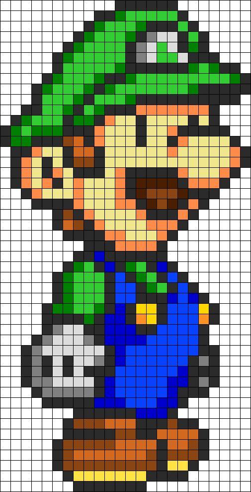 Luigi Hat Perler Perler Bead Pattern Bead Sprite Ba974ded5ba