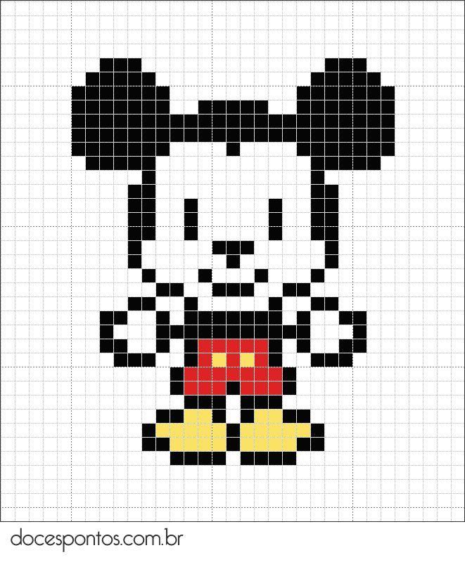 dessin pixel mickey