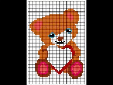dessin pixel ourson