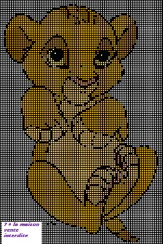dessin pixel roi lion