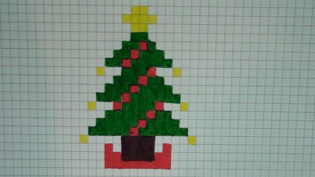 dessin pixel sapin de noel